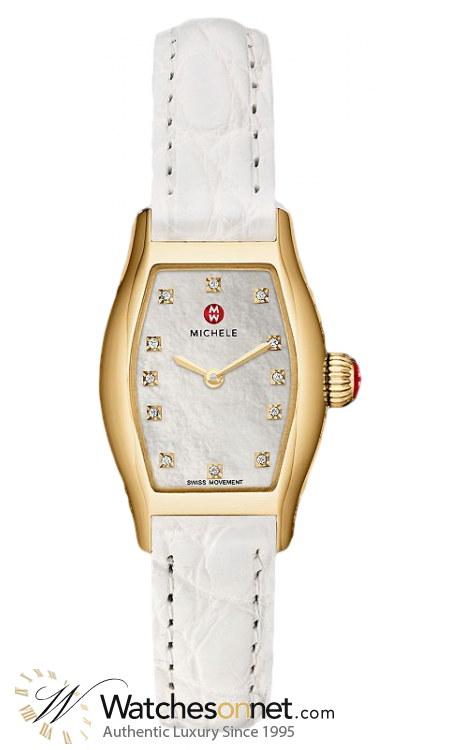Michele Coquette  Quartz Women's Watch, 18K Gold Plated, Mother Of Pearl Dial, MWW08A000239
