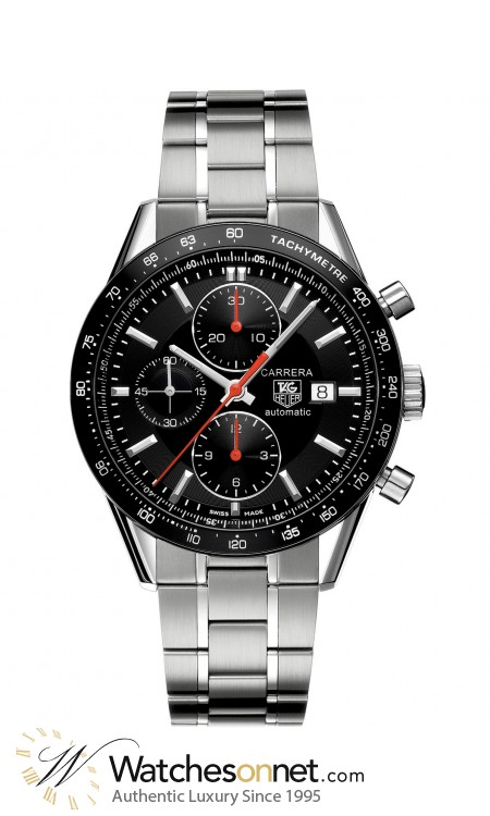 Tag Heuer Carrera  Chronograph Automatic Men's Watch, Stainless Steel, Black Dial, CV2014.BA0794