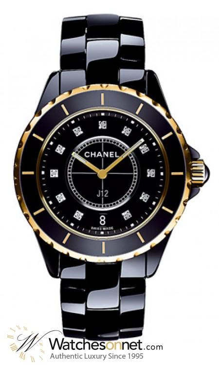 Chanel J12 Jewelry  Quartz Women's Watch, Ceramic, Black & Diamonds Dial, H2544