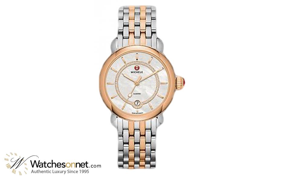 Michele CSX  Quartz Women's Watch, Steel & 18K Rose Gold, Mother Of Pearl Dial, MWW03T000066