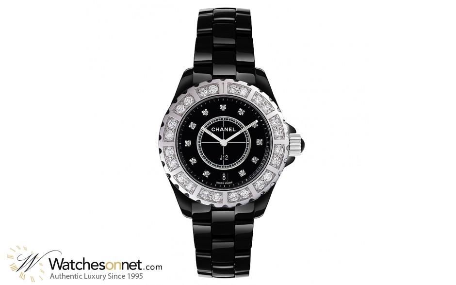 Chanel J12 Jewelry  Quartz Women's Watch, Ceramic, Black & Diamonds Dial, H2428