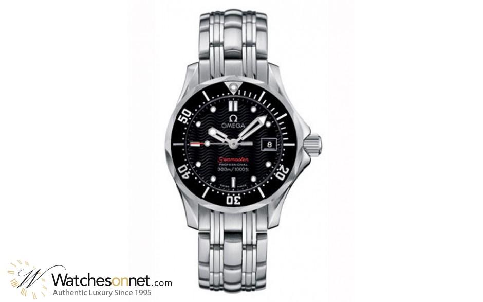 Omega Seamaster  Quartz Women's Watch, Stainless Steel, Black Dial, 212.30.28.61.01.001
