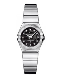 Omega Constellation  Quartz Women's Watch, Stainless Steel, Black & Diamonds Dial, 123.10.24.60.51.002