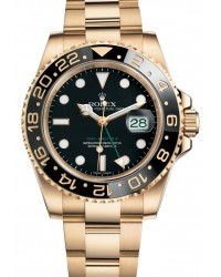 Rolex GMT-Master II  Automatic Men's Watch, 18K Yellow Gold, Black Dial, 116718LN-BLK