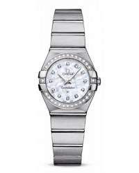 Omega Constellation  Quartz Small Women's Watch, Stainless Steel, Mother Of Pearl & Diamonds Dial, 123.15.24.60.55.001