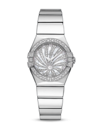 Omega Constellation  Quartz Small Women's Watch, 18K White Gold, Diamond Pave Dial, 123.55.24.60.55.014