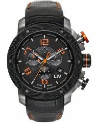 LIV Genesis X1  Chronograph Quartz Men's Watch, Gunmetal, Black Dial, 1230.45.10.A100