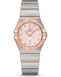 Omega Constellation  Quartz Women's Watch, Steel & 18K Rose Gold, Pink Dial, 123.20.27.60.57.004