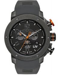 LIV Genesis X1  Chronograph Quartz Men's Watch, Stainless Steel Gray IP, Black Dial, 1240.45.11.SRB600