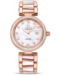 Omega De Ville  Automatic Women's Watch, 18K Rose Gold, Mother Of Pearl & Diamonds Dial, 425.65.34.20.55.007