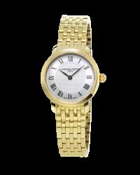 Frederique Constant Slimline  Quartz Women's Watch, 18K Gold Plated, Silver Dial, FC-200MCS5B
