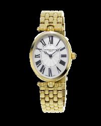 Frederique Constant Art Deco  Quartz Women's Watch, 18K Gold Plated, Silver Dial, FC-200MPW2V5B