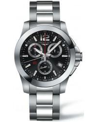 Longines Conquest  Quartz Men's Watch, Stainless Steel, Black Dial, L3.700.4.56.6