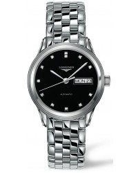 Longines Flagship  Automatic Men's Watch, Stainless Steel, Black & Diamonds Dial, L4.799.4.57.6