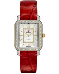 Michele Deco II  Quartz Women's Watch, Steel & Yellow Gold Plated, Mother Of Pearl & Diamonds Dial, MWW06X000008
