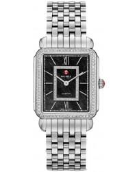 Michele Deco II  Quartz Women's Watch, Stainless Steel, Black & Diamonds Dial, MWW06X000011