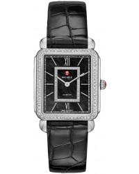Michele Deco II  Quartz Women's Watch, Stainless Steel, Black & Diamonds Dial, MWW06X000012