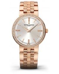 Vacheron Constantin Patrimony Traditionnelle  Quartz Women's Watch, 18K Rose Gold, Silver & Diamonds Dial, 25557/Q01R-9277