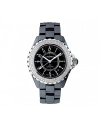 Chanel J12 Jewelry  Automatic Women's Watch, Ceramic, Black & Diamonds Dial, H0950