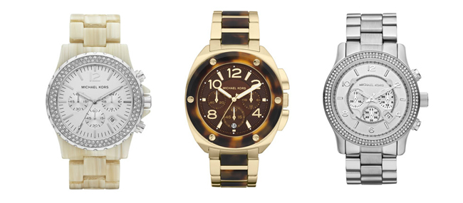 R-L: Michael Kors Oversized Madison Chronograph Glitz Watch in White Horn ($275); Michael Kors Mid-Size Tribeca Chronograph Watch in Golden and Tortoise ($275); Michael Kors Runway Double Glitz Watch in Silver ($295)