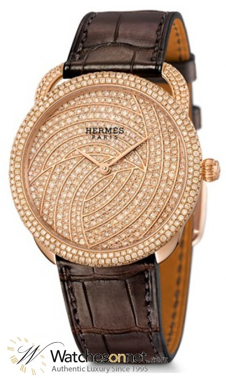Hermes Arceau  Automatic Women's Watch, 18K Rose Gold & Diamonds, Gold Dial, 038134WW00