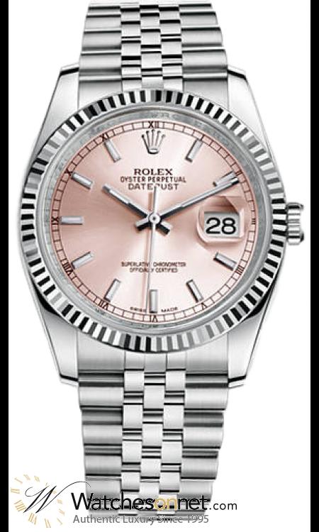 Rolex DateJust 36  Automatic Women's Watch, Steel & 18K White Gold, Pink Dial, 116234-PNK-J