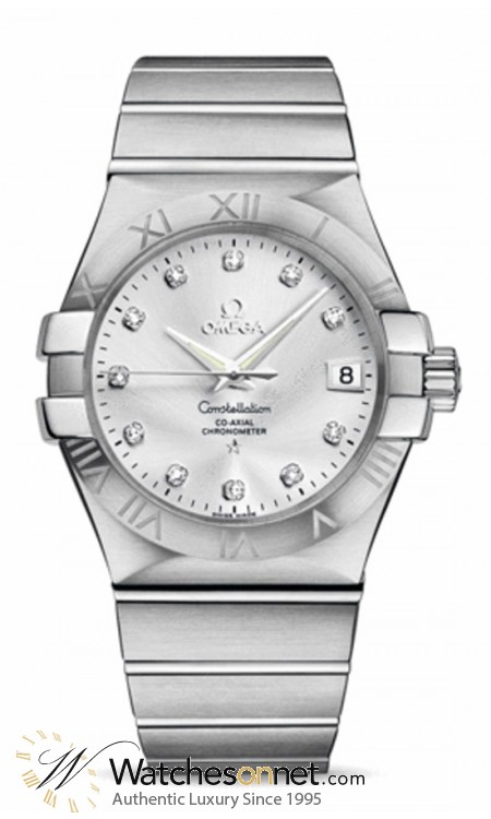 Omega Constellation  Automatic Men's Watch, Stainless Steel, Silver & Diamonds Dial, 123.10.35.20.52.001