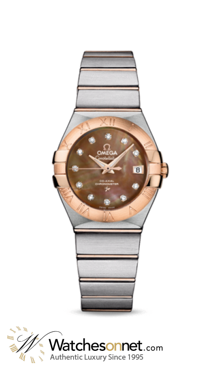Omega Constellation  Automatic Women's Watch, 18K Rose Gold, Mother Of Pearl & Diamonds Dial, 123.20.27.20.57.001