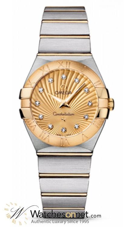 Omega Constellation  Quartz Women's Watch, 18K Yellow Gold, Champagne & Diamonds Dial, 123.20.27.60.58.001