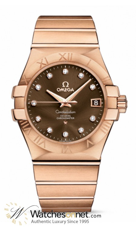 Omega Constellation  Automatic Men's Watch, 18K Rose Gold, Brown & Diamonds Dial, 123.50.35.20.63.001