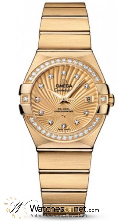 Omega Constellation  Automatic Women's Watch, 18K Yellow Gold, Champagne & Diamonds Dial, 123.55.27.20.58.001