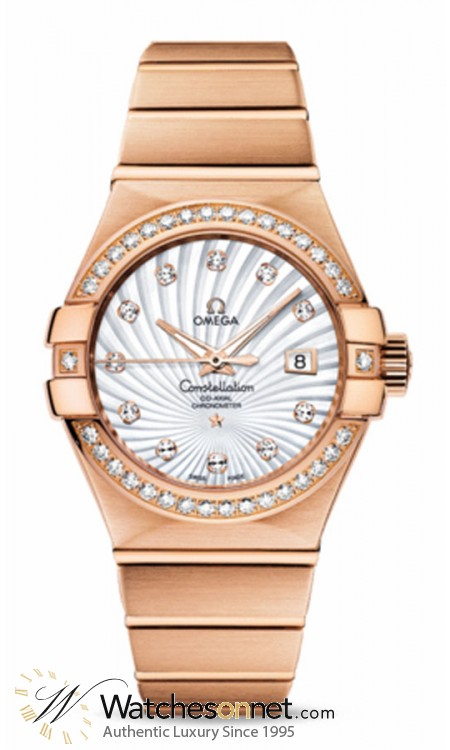 Omega Constellation  Automatic Women's Watch, 18K Rose Gold, Mother Of Pearl & Diamonds Dial, 123.55.31.20.55.001
