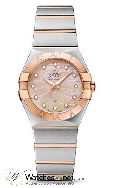 Omega Constellation  Quartz Women's Watch, Steel & 18K Rose Gold, Mother Of Pearl Dial, 123.20.27.60.57.002