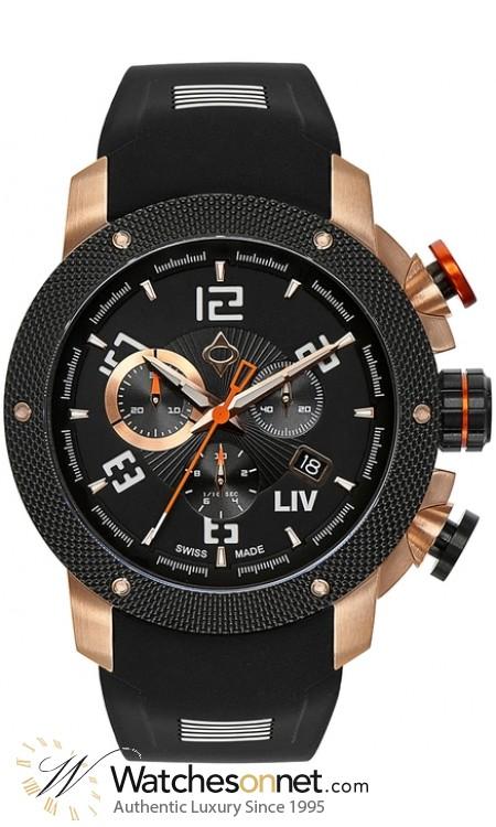 LIV Genesis X1  Chronograph Quartz Men's Watch, Stainless Steel Rose Gold Tone, Black Dial, 1260.45.90.SRB300
