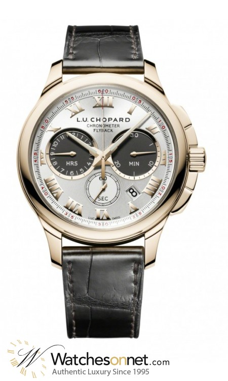 Chopard L.U.C  Chronograph Automatic Men's Watch, 18K Rose Gold, Silver Dial, 161928-5001