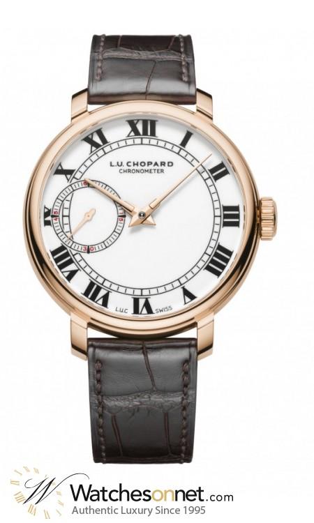 Chopard L.U.C  Mechanical Men's Watch, 18K Rose Gold, White Dial, 161963-5001