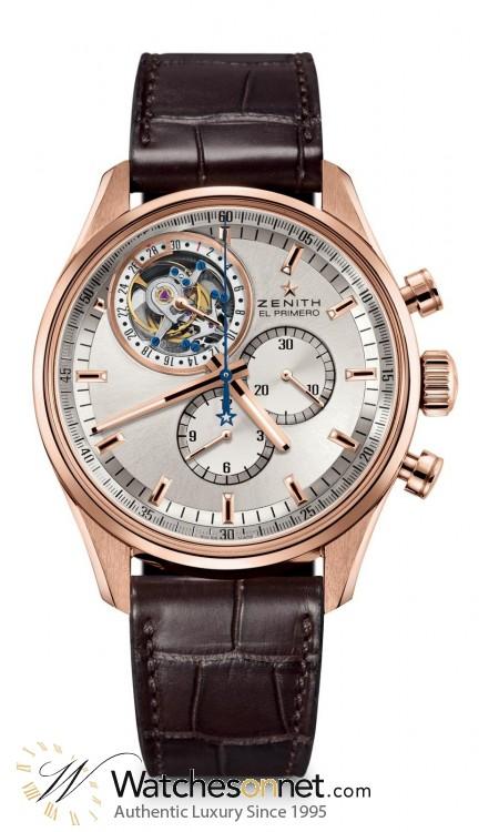 Zenith El Primero  Chronograph Automatic Men's Watch, 18K Rose Gold, Silver Dial, 18.2050.4035/01.C713
