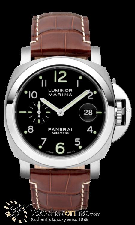 Panerai Luminor Marina  Automatic Men's Watch, Stainless Steel, Black Dial, PAM00164