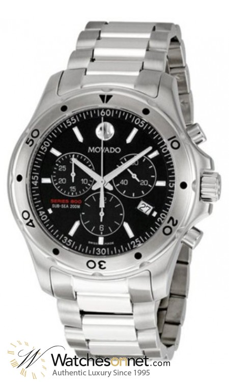 Movado Series 800  Chronograph Quartz Men's Watch, Stainless Steel, Black Dial, 2600076