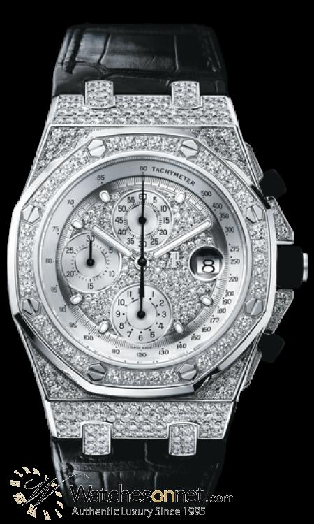 Audemars Piguet Royal Oak  Chronograph Automatic Men's Watch, 18K White Gold, Diamond Pave Dial, 26067BC.ZZ.D002CR.01
