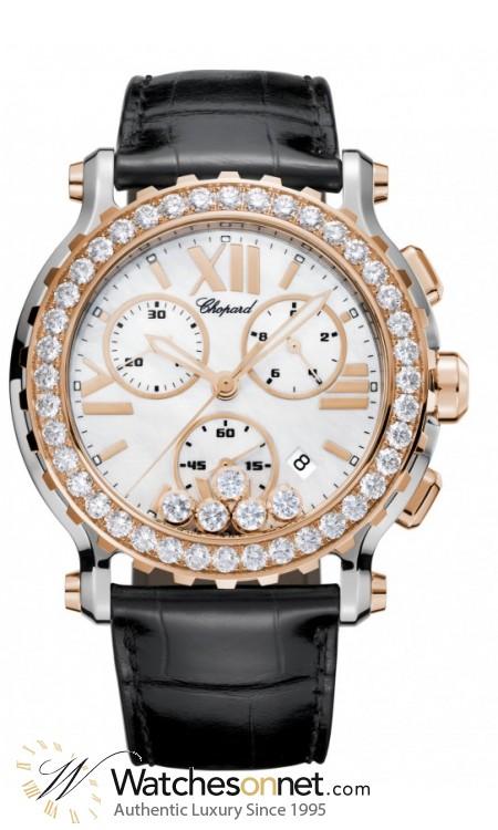 Chopard Happy Diamonds  Chronograph Quartz Women's Watch, 18K Rose Gold, Mother Of Pearl Dial, 288506-6001