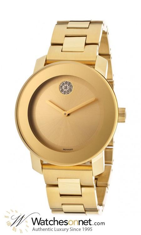 Movado Bold  Quartz Men's Watch, Gold Plated, Gold Dial, 3600104