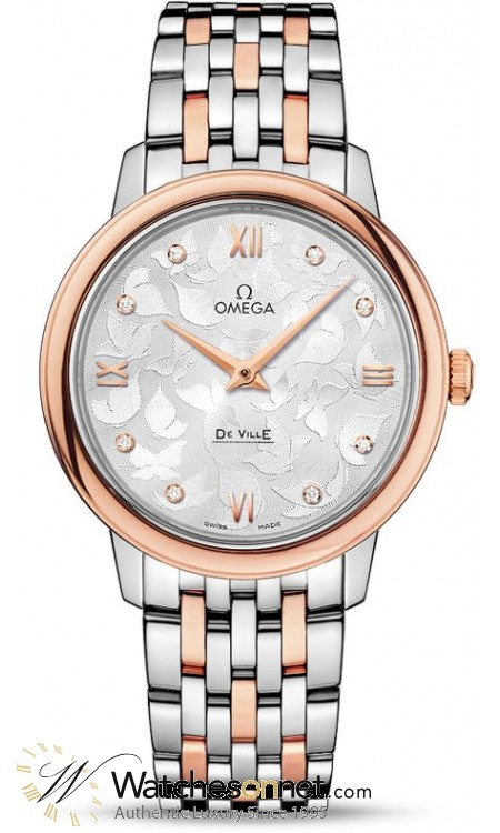 Omega De Ville  Quartz Women's Watch, Steel & 18K Rose Gold, Silver Dial, 424.20.33.60.52.001