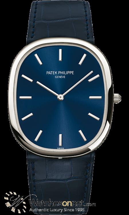 Patek Philippe Golden Ellipse  Automatic Men's Watch, Platinum, Blue Dial, 5738P-001