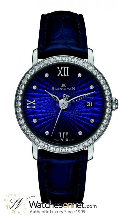 Blancpain Villeret  Automatic Women's Watch, 18K White Gold, Blue & Diamonds Dial, 6102C-1929-55A