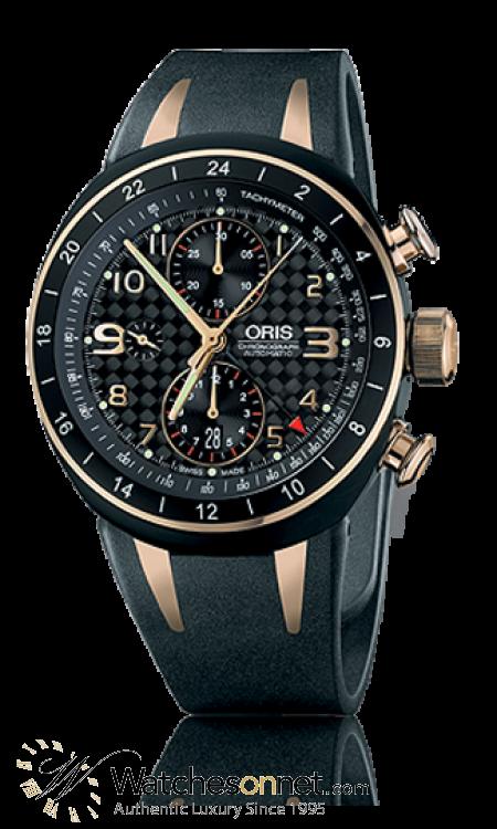 Oris TT3  Chronograph Automatic Men's Watch, Titanium, Black Dial, 677-7590-7764-Set