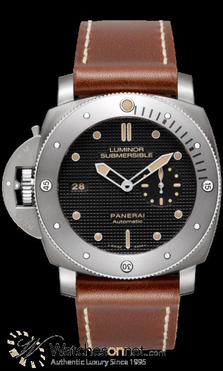 Panerai Luminor Submersible  Automatic Men's Watch, Titanium, Black Dial, PAM00569