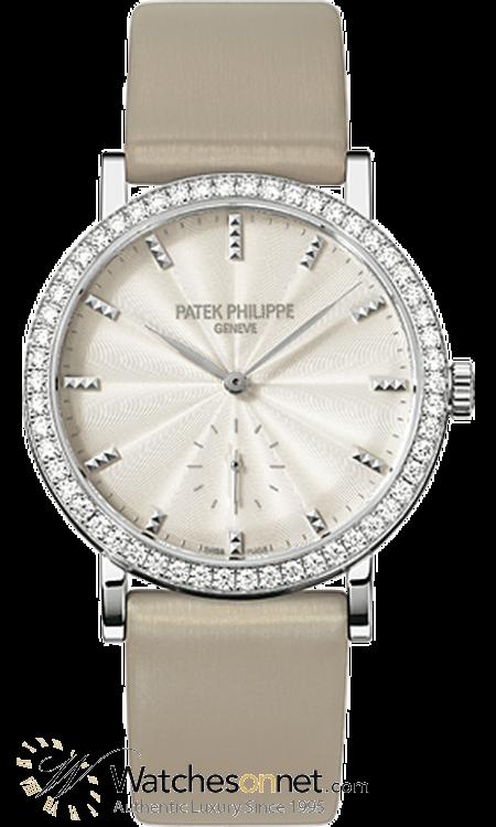 Patek Philippe Calatrava  Mechanical Women's Watch, 18K White Gold, Cream & Diamonds Dial, 7120G-001