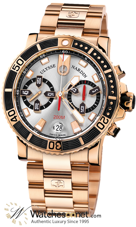 Ulysse Nardin Maxi Marine Diver  Chronograph Automatic Men's Watch, 18K Rose Gold, Grey Dial, 8006-102-8M/91