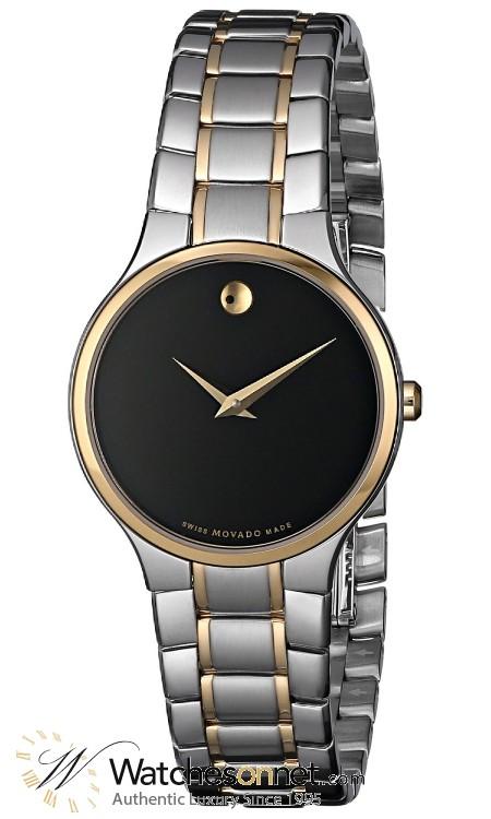 Movado Serio  Quartz Women's Watch, Steel & Gold Tone, Black Dial, 606389